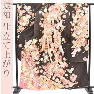 振袖 正絹 古典 金彩 仕立て上がり 茶 花 桜 牡丹 菊 ...