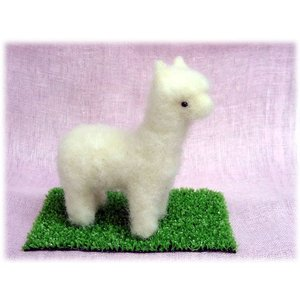 ◎羊毛フェルト人形、白いアルパカキット。|hituji2gou