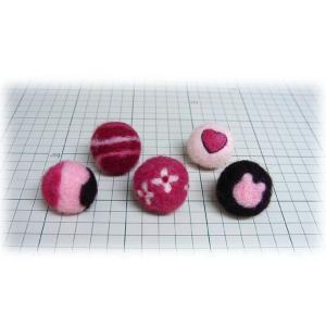 ◎羊毛フェルトボールおはじめキット・ピンク系6色・針2種計2本付|hituji2gou