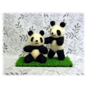 ◎2匹のパンダ・ちくちくニードル 羊毛フェルトキット。|hituji2gou