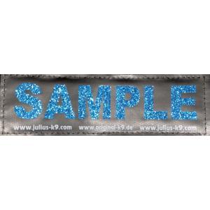 【2枚1セット】Julius K9(黒地/きらきらブルー) お名前入りラベル M サイズ|hivikigallery