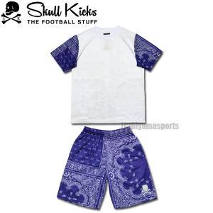 SKULL KICKS スカルキックス バンダナプラシャツ&バンダナプラパンセット SK20-008-WHT-SK20-009-NVY フットサル サッカー|hiyamasp