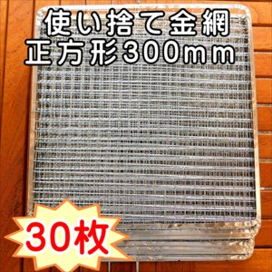 焼き網 BBQ 使い捨て金網正方形300mm (30枚入り)