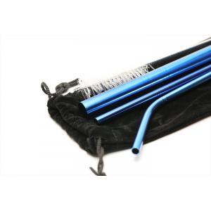 在庫処分セール ステンレスストロー3本セット タピオカ対応 ブルー 洗浄ブラシ 布ケース付