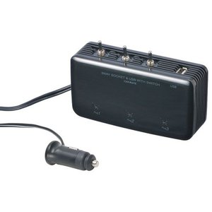 USBスイッチ付後方3連ソケット ブラック【NZ257】|hkbsports