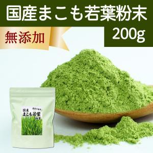 国産まこも若葉粉末200g 真菰パウダー マクロビオティック 農薬不使用 マコモ 青汁 マコモダケ まこもたけ|hl-labo