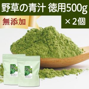 野草の青汁・徳用 500g×2個 国産すぎな、よもぎ、熊笹使用 クマザサ 野菜ジュース・スムージーに 無農薬|hl-labo