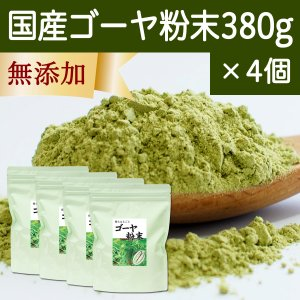 国産ゴーヤ粉末 380g×4個 沖縄産 青汁 サプリメント 無添加 まるごと 丸ごと 100% ゴーヤー パウダー 苦瓜 にがうり ジュースに|hl-labo