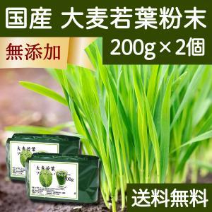 送料無料 国産・大麦若葉粉末200g×2個 無添加 100% 青汁スムージーに 野菜不足の方に 無農薬|hl-labo