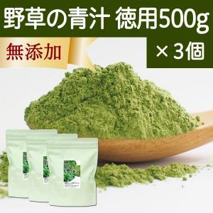 野草の青汁・徳用 500g×3個 国産すぎな、よもぎ、熊笹使用 クマザサ 野菜ジュース・スムージーに 無農薬 hl-labo