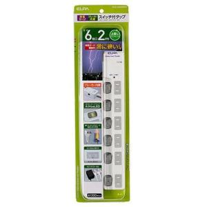 直送品 代引き不可 ELPA(エルパ) LEDランプスイッチ付タップ 上挿し 6個口 2m ブレイカ...
