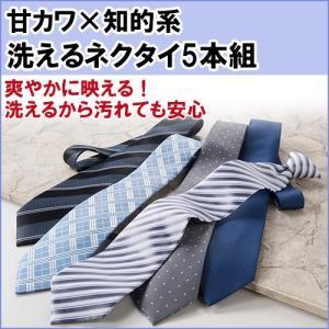 甘カワ×知的系 洗える ビジネスネクタイ 5本組 ウォッシャブル 洗えるネクタイ おしゃれで爽やか ライトカラー プレゼントにも最適|hmy-select