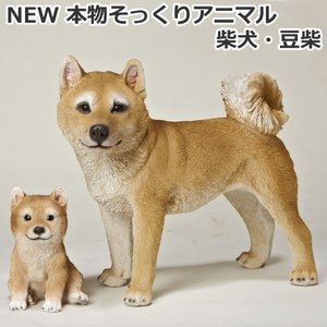 NEW 本物そっくりアニマル 柴犬・豆柴セット 犬型置き物/オブジェ プレゼントにも最適|hmy-select