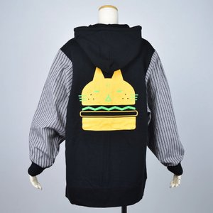 MINT NeKO パーカー ハンバーガー ネコ ねこ 猫 ボリュームスリーブフーディー hnaoto-gos
