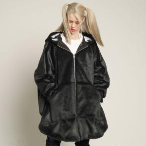 MINT NeKO コート 男女兼用 エコファー ネコ ねこ 猫 ファーポンチョコート|hnaoto-gos