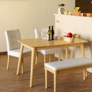 ダイニング4点セット Sirius(120x75cm)(テーブル・チェアー2脚・ベンチ)★セット価格★ AX-S120-S43-S86-NA|hobby-life-japan