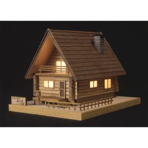 あかりシリーズ No.2ログハウス森の家 ウッディジョーの木製模型レーザーカット加工|hobby-life-japan