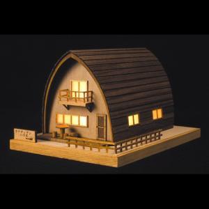 あかりシリーズ No.3カナディアンハウスウッディジョーの木製模型レーザーカット加工|hobby-life-japan