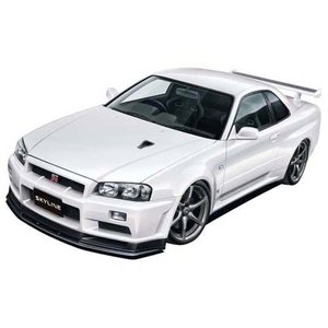 アオシマ 1/24 プリペイントモデル No.032 R34 スカイライン GT-R V-Spec II (ホワイト パール) プラモデル 模型|hobby-zone