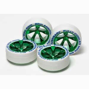 ミニ四駆グレードアップパーツ  フルカウルミニ四駆20周年記念 ホワイトタイヤ&グリーンメッキホイール タミヤ hobby-zone