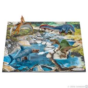 DINOSAURS 42330 ミニ恐竜とジオラマパズルセット 海洋ゾーン(再販) シュライヒ|hobby-zone