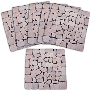 コモライフ 雑草が生えないおしゃれな天然石マット ピンク 6枚組 68332 置くだけ 庭 玄関 防...