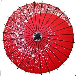 踊り傘 和傘 桜吹雪 紅色 hobipoke