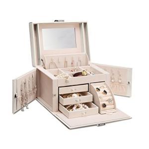 Vlando ジュエリーボックス 収納 アクセサリーケース 大容量の宝石箱 ミラー 鏡付き ピアス ネックレス 指輪 リング アクセサリー 指輪置き hobipoke