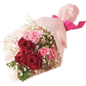 母の日 花 花束 送料無料 母の日 バラとスプレーカーネーションの花束 / 母の日ギフト 2021 スワッグ 切り花 ブーケギフト お花 メッセージカード【21m】|hokkaido-gourmation
