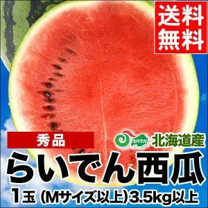2019年ご予約承り中 7月出荷開始 送料無料 北海道共和町産 らいでんすいか(秀品 M〜L 3.5kg以上)/ 北海道産 直送|hokkaido-gourmation