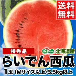 2019年ご予約承り中 7月出荷開始 送料無料 北海道共和町産 らいでんすいか(特秀品 M〜L 3.5kg以上)/ 北海道産 直送|hokkaido-gourmation