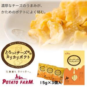 お菓子 スナック カルビー ポテトファーム POTATO FARM 北海道 お土産 とろっとチーズ味のカリカリポテト 15g×3袋入 お取り寄せ プレゼント 贈り物|hokkaido-shinhakken