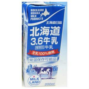 北海道日高乳業 北海道3.6牛乳 生乳100%使用 200ml ポイント消化 お土産 父の日 プレゼント ギフト