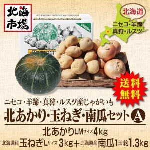 【送料無料】北海道ニセコ・羊蹄産じゃがいも 北あかり・玉ねぎ・南瓜セットA-2|hokkaiichibasapporo