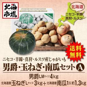 【送料無料】北海道ニセコ・羊蹄産じゃがいも 男爵・玉ねぎ・南瓜セットA-3|hokkaiichibasapporo