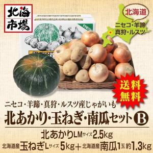【送料無料】北海道ニセコ・羊蹄産じゃがいも 北あかり・玉ねぎ・南瓜セットB-4|hokkaiichibasapporo