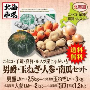 【送料無料】北海道ニセコ・羊蹄産じゃがいも 男爵・玉ねぎ・南瓜・人参セット-7|hokkaiichibasapporo