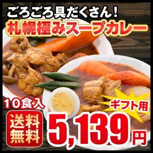 プレゼント ギフト スープカレー レトルトカレー 10食セット ハバネロスパイスが無料付 北海道 札幌  チキン 豚角煮 送料無料  hokkaimaru