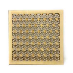 ウォールデコレーション 組子調 和風アートパネル 木製 麻の葉 シナ合板 (30cmx30cm)