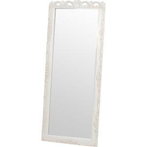 スタンドミラー 白 シャビー 姿見鏡 木製 幅70cm 高さ170cm  〔立てかけタイプ〕 転倒防止用チェーン付き|hokuo-lukit
