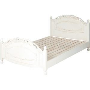 ベッド セミダブル アンティーク調 白 シャビー 木製ベット 高級感 セミダブルベッド|hokuo-lukit