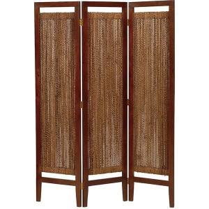 3連 パーティション 木製 衝立 アジアン風 〔ナチュラル〕 〔幅40×3連/高さ150cm〕|hokuo-lukit