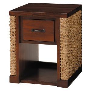 サイドテーブル アジアン家具 40cm幅 小型 ナイトテーブル 収納付き ウォーターヒヤシンス|hokuo-lukit