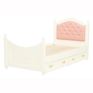 収納付きベッド 〔シングルサイズ〕 木製/マホガニー 姫系 RB-1855WH ホワイト(白) hokuo-lukit