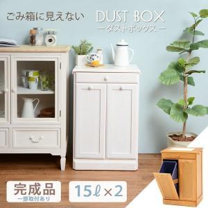 ゴミ箱 木製 ダストボックス 2分別 15L 引き出し収納 〔ペール容器2個付/フタ無/キャスター付き〕 完成品|hokuo-lukit