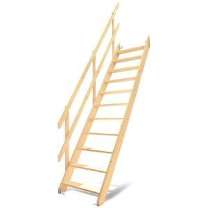 【ワイドステップ】北欧産木製ロフト階段 梯子 ハシゴ ベッド 手摺付き 組み立て式 無塗装 DOLLE(ドーレ)|hokuo-no-mori