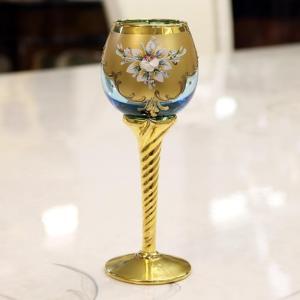 イタリア ヴェネチアングラス アンティーク ベネチアングラス ヨーロピアン 輸入雑貨 ブルー ゴールド グラス 101 ブルー ビアグラス
