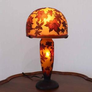 ガレランプ ハイビスカス 8インチ レリーフランプ アンティーク テーブルランプ ガレ風 照明 カメオ彫り アールヌーボー ジャポニズムの画像