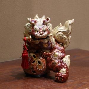 九谷焼 6号剣獅子 赤盛A|hokusando