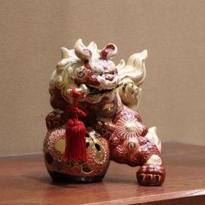 九谷焼 6号剣獅子 赤盛A|hokusando|02